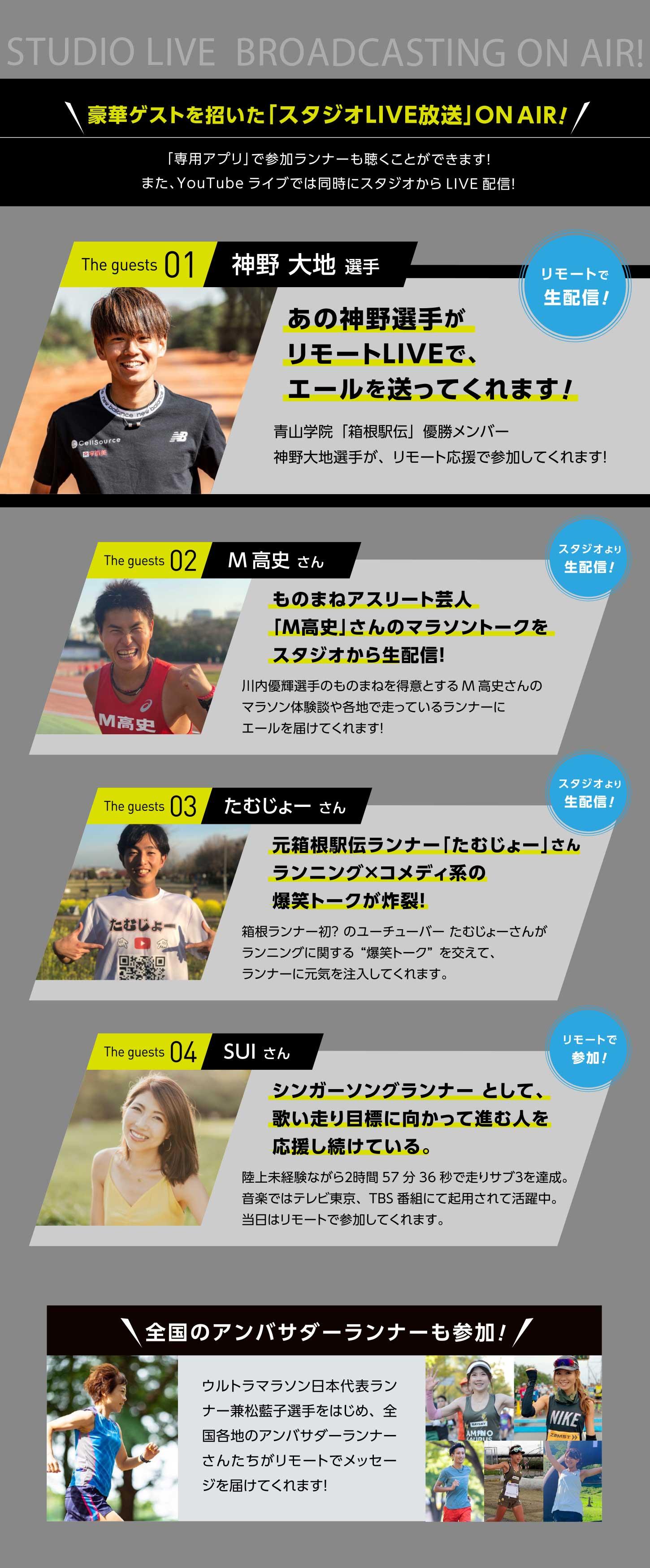神野大地さん、ものまねアスリート芸人「M高史」さん、元箱根駅伝ランナー「たむじょー」さんなどたくさんのゲストがイベントを盛り上げてくれます!